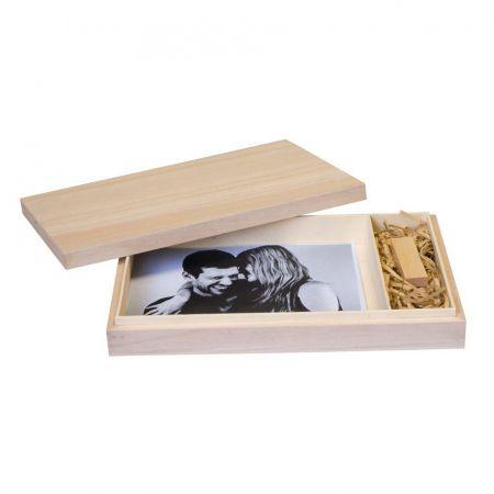 Caja Madera Fotos y USB