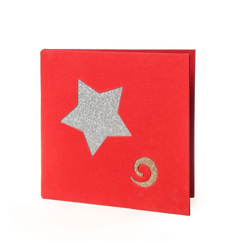 Díptico Navidad Rojo Estrellas Espiral