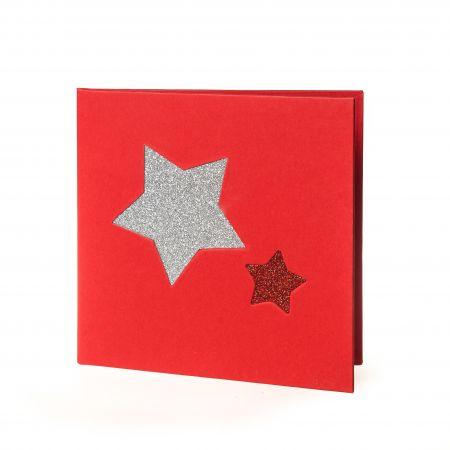 Díptico Navidad Rojo Estrellas