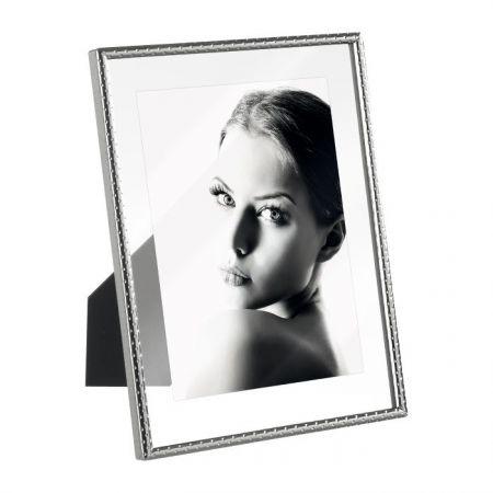 Portafoto Diseño Plateado Doble Cristal