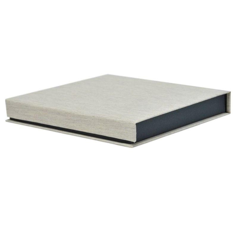 Caja lino tela gris 22x23